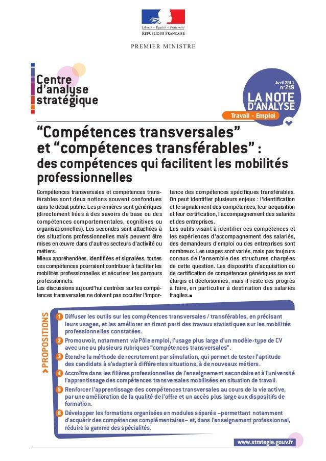 www.strategie.gouv.fr Compétences transversales et compétences trans- férables sont deux notions souvent confondues dans l...