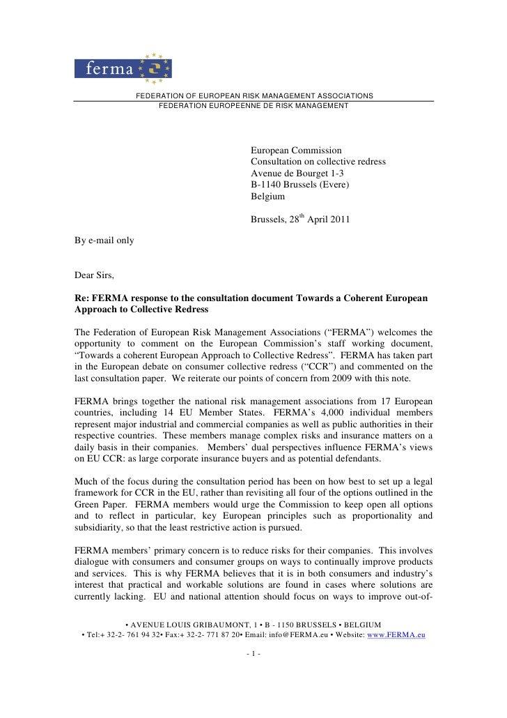 FEDERATION OF EUROPEAN RISK MANAGEMENT ASSOCIATIONS                      FEDERATION EUROPEENNE DE RISK MANAGEMENT         ...