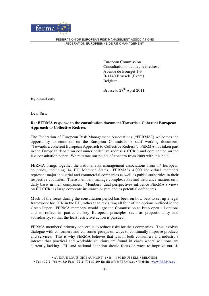 FERMA response to the consultation document Towards a Coherent European Approach to Collective Redress