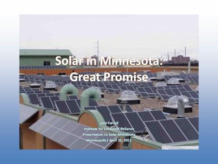 Solar in Minnesota: Great Potential