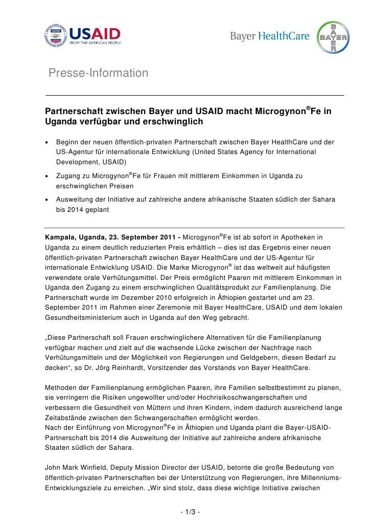Presse-InformationPartnerschaft zwischen Bayer und USAID macht Microgynon®Fe inUganda verfügbar und erschwinglich•    Begi...