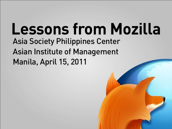 2011 04 AIM - lessons from Mozilla