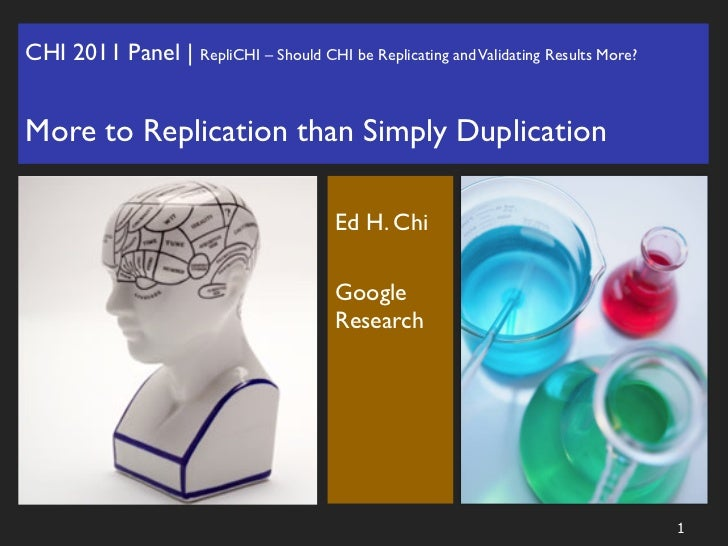 Replication is more than Duplication: Position slides for CHI2011 panel on replication of HCI research