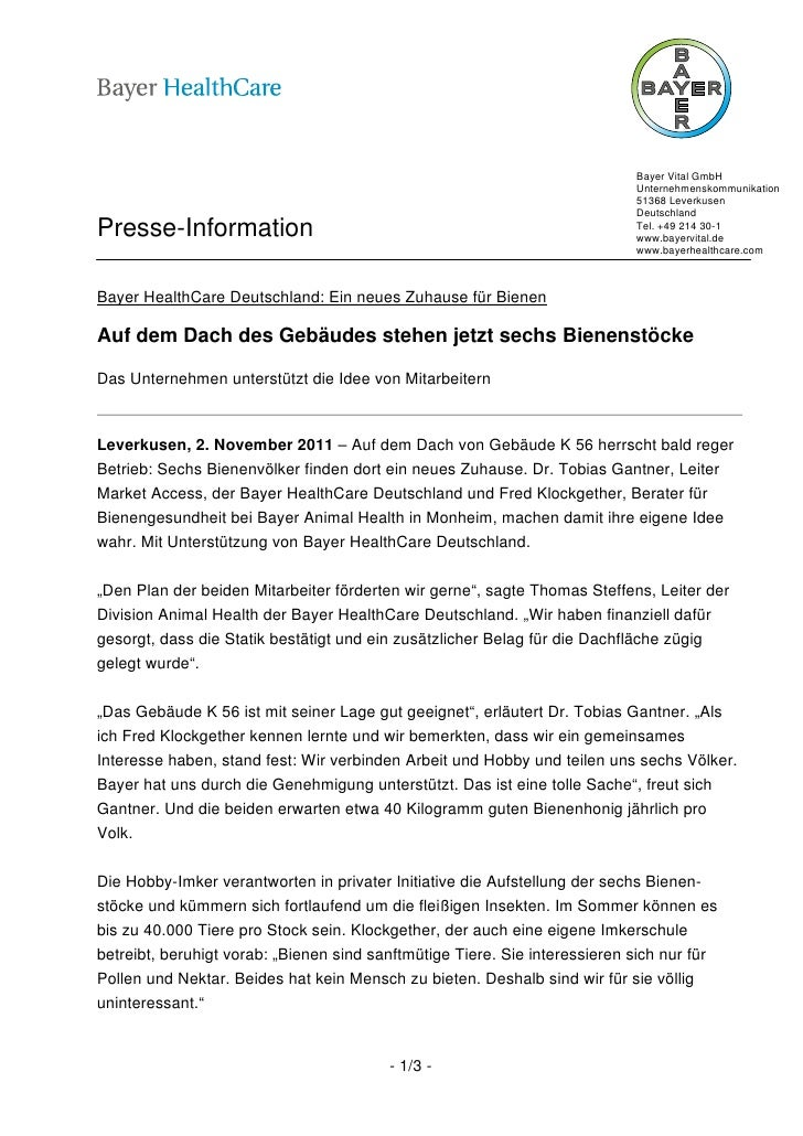 Bayer Vital GmbH                                                                            Unternehmenskommunikation     ...