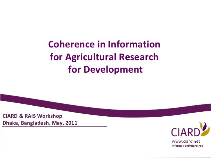 2011-05 CIARD General Presentation - English - Bangladesh