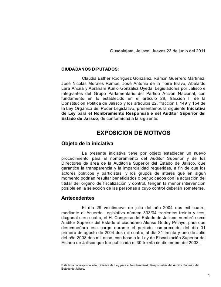Iniciativa de Ley para el Nombramiento Responsable del Auditor Superior.