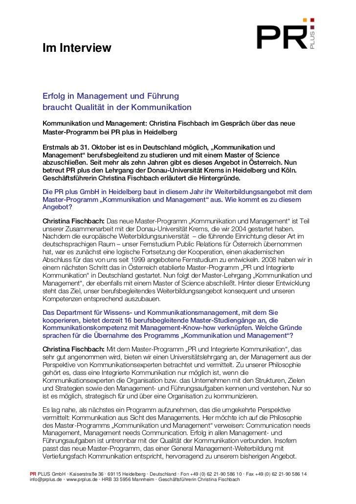 Im Interview     Erfolg in Management und Führung     braucht Qualität in der Kommunikation     Kommunikation und Manageme...