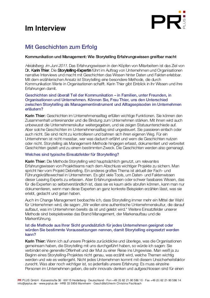Im Interview     Mit Geschichten zum Erfolg     Kommunikation und Management: Wie Storytelling Erfahrungswissen greifbar m...