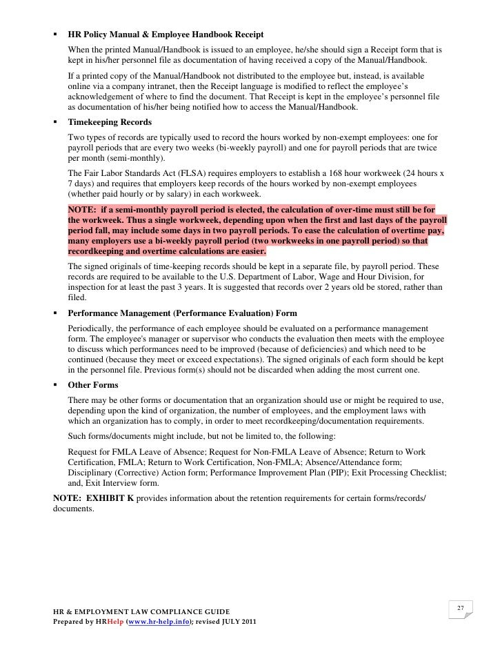 employee handbook acknowledgement form