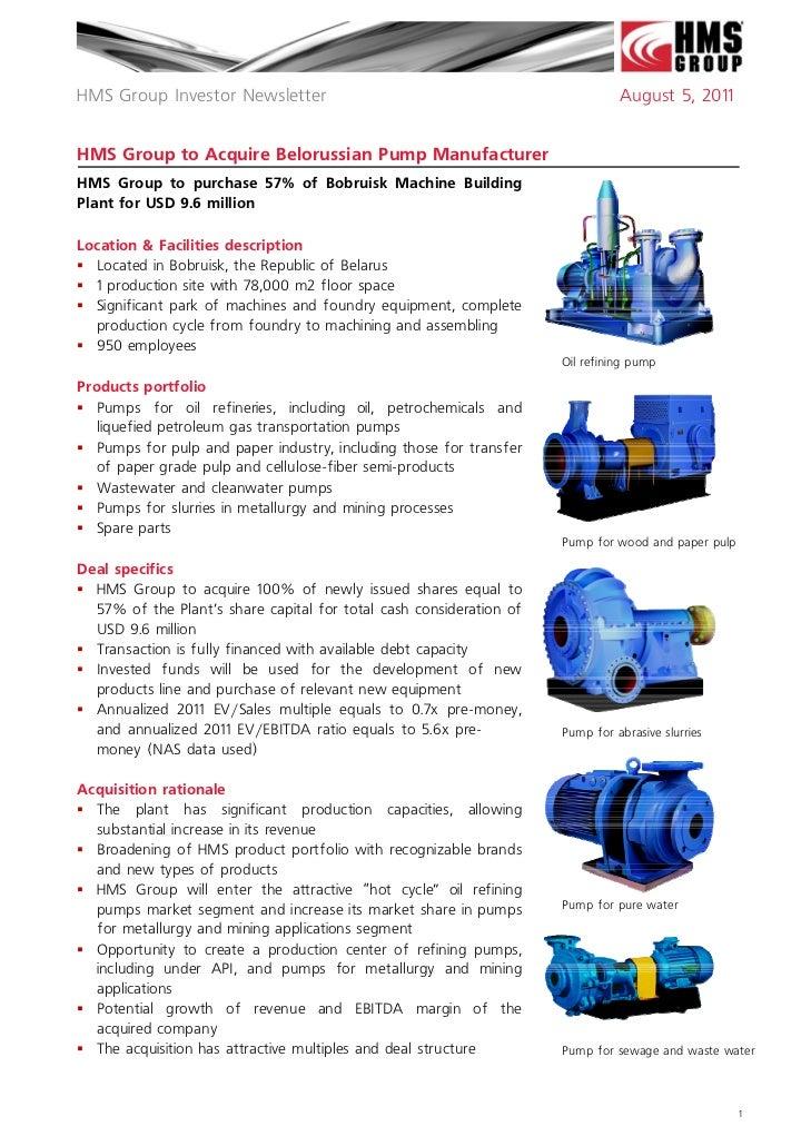 HMS Group Investor Newsletter Bobruisk plant M&A