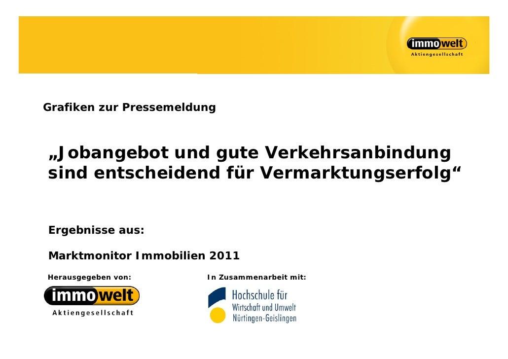 """Grafiken zur Pressemeldung""""Jobangebot und gute Verkehrsanbindungsind entscheidend für Vermarktungserfolg""""Ergebnisse aus:Ma..."""