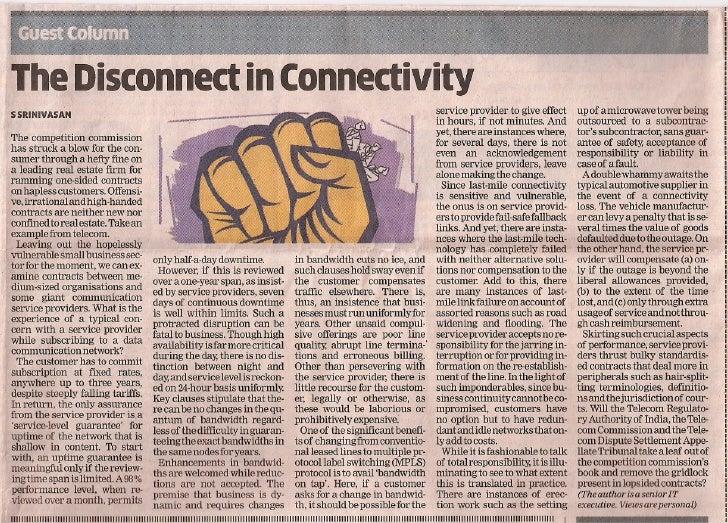 The Disconnect in ConnectivitySSRINIVASAN                                                                                 ...