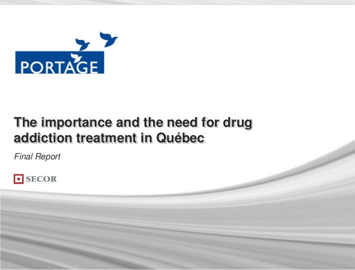 The importance and the need for drugaddiction treatment in QuébecFinal Report