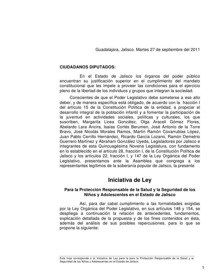 Guadalajara, Jalisco. Martes 27 de septiembre del 2011CIUDADANOS DIPUTADOS:           En el Estado de Jalisco los órganos ...