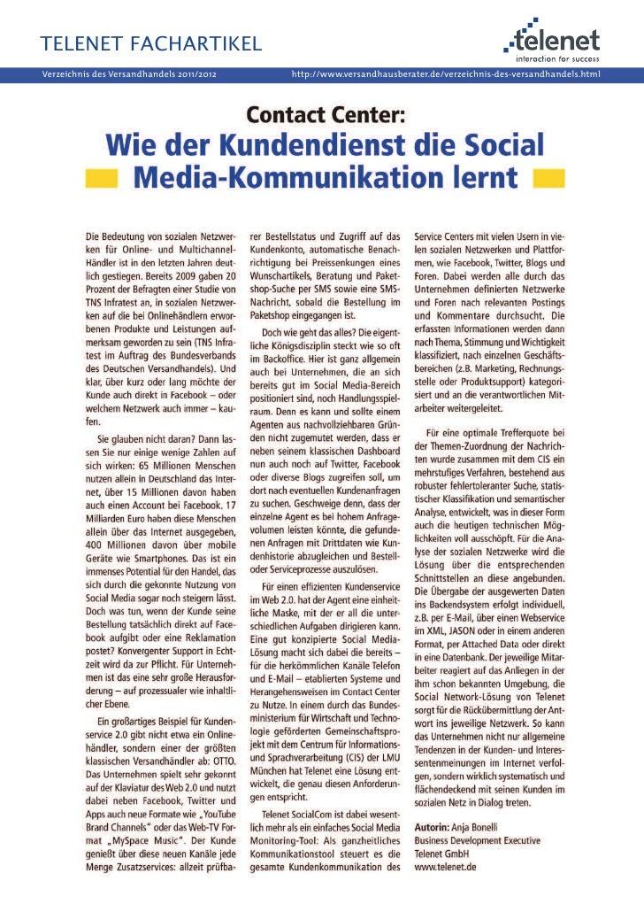 """Fachartikel """"Wie der Kundendienst die Social Media-Kommunikation lernt"""", Verzeichnis des Versandhandels, 2011"""