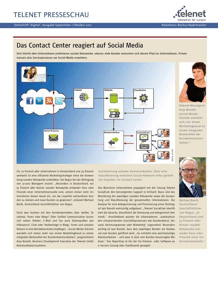 """Fachartikel """"Social Media im CC"""", Zeitschrift Digital, 2011"""