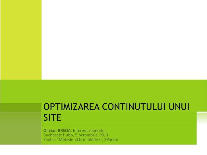 2011.10.05 Olivian BREDA - Optimizarea continutului unui site