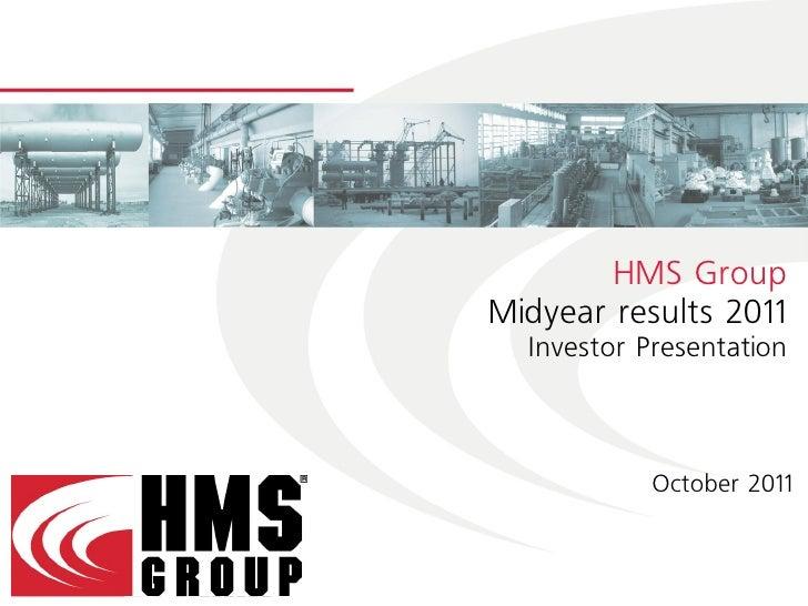 HMS Group Investor Presentation, October 2011
