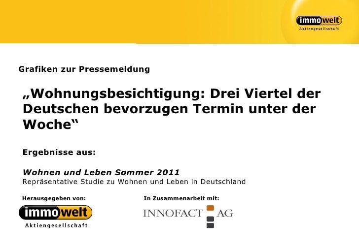 """Grafiken zur Pressemeldung""""Wohnungsbesichtigung: Drei Viertel derDeutschen bevorzugen Termin unter derWoche""""Ergebnisse aus..."""