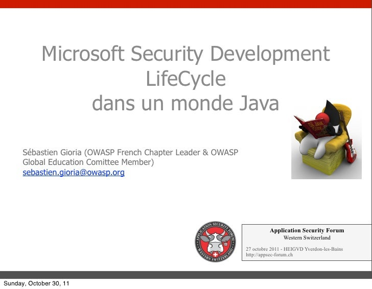 Microsoft Security Development                       LifeCycle                 dans un monde Java      Sébastien Gioria (O...