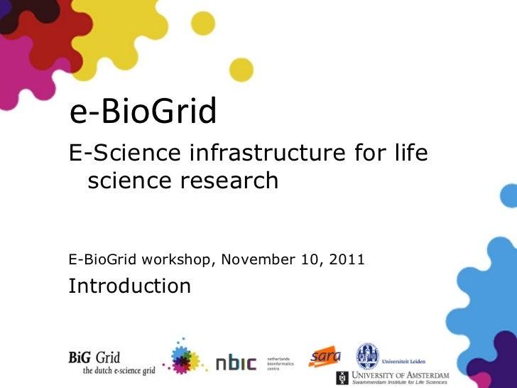 e-BioGridE-Science infrastructure for life science researchE-BioGrid workshop, November 10, 2011Introduction