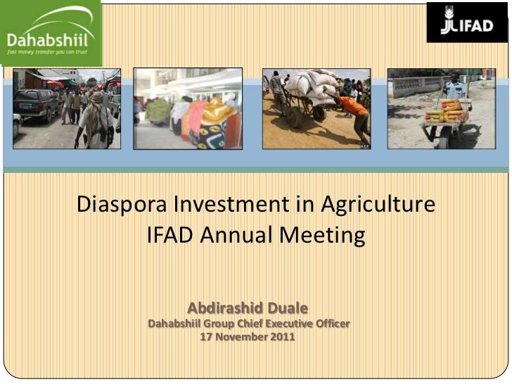 Diaspora Investment in Agriculture      IFAD Annual Meeting             Abdirashid Duale      Dahabshiil Group Chief Execu...