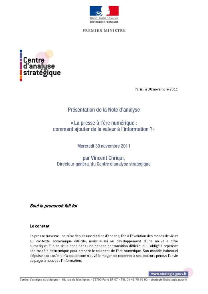 Paris, le 30 novembre 2011                                                                                              ...