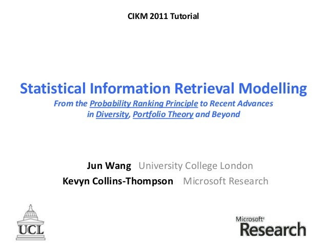 Statistical Information Retrieval Modelling:  from the Probability Ranking Principle to Portfolio Retrieval and Beyond
