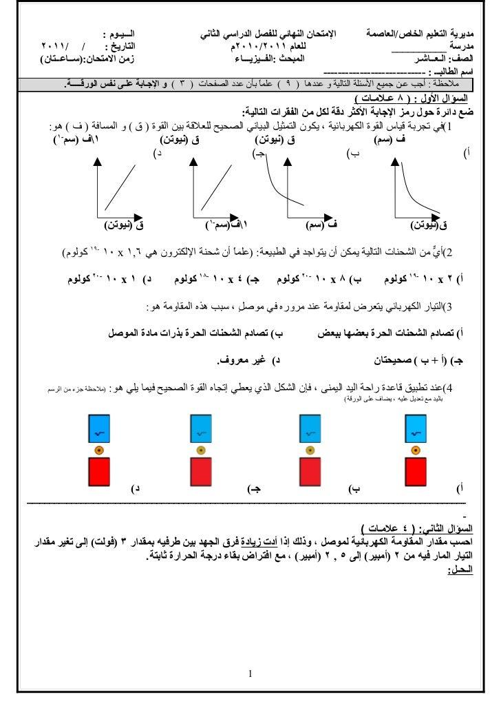 الـــيـوم :                                    المتحان النهائي للفصل الدراسي الثاني         مديرية التعليم الخاص/العا...