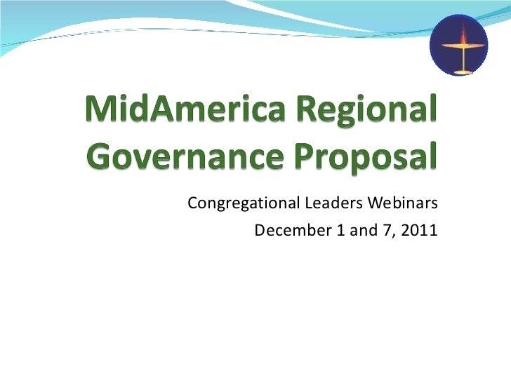 Congregational Leaders Webinars December 1 and 7, 2011
