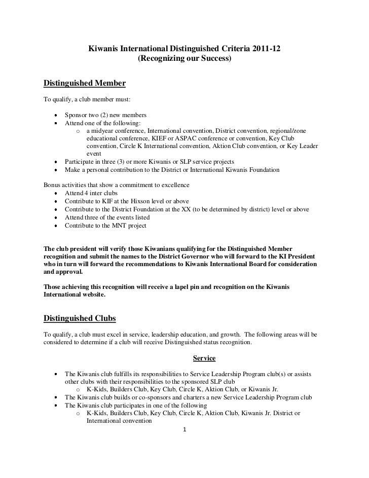Kiwanis International Distinguished Criteria 2011-12                             (Recognizing our Success)Distinguished Me...