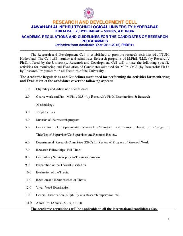 1 RESEARCH AND DEVELOPMENT CELL JAWAHARLAL NEHRU TECHNOLOGICAL UNIVERSITY HYDERABAD KUKATPALLY, HYDERABAD – 500 085, A.P. ...