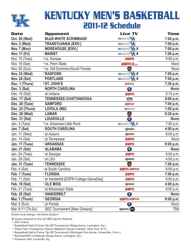 KENTUCKY MEN'S BASKETBALL                                                      2011-12 ScheduleDate                       ...
