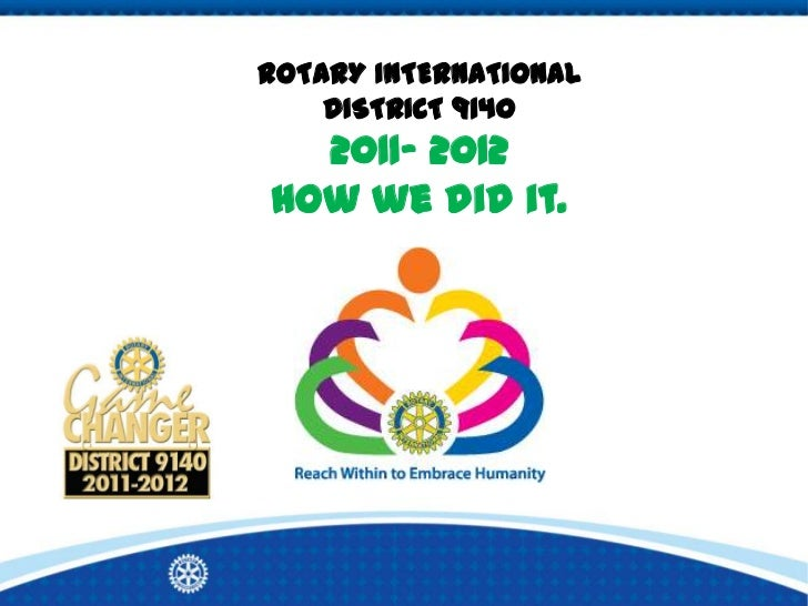 ROTARY INTERNATIONAL    DISTRICT 9140  2011- 2012How we did it.