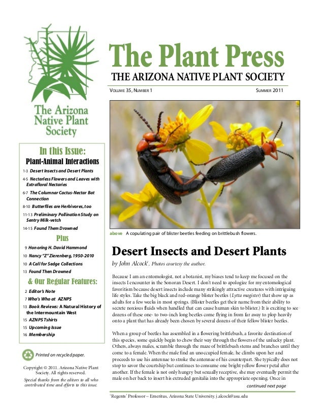The Plant PressTHE ARIZONA NATIVE PLANT SOCIETY VOLUME 35, NUMBER 1 SUMMER 2011 continued next page Printed on recycled pa...