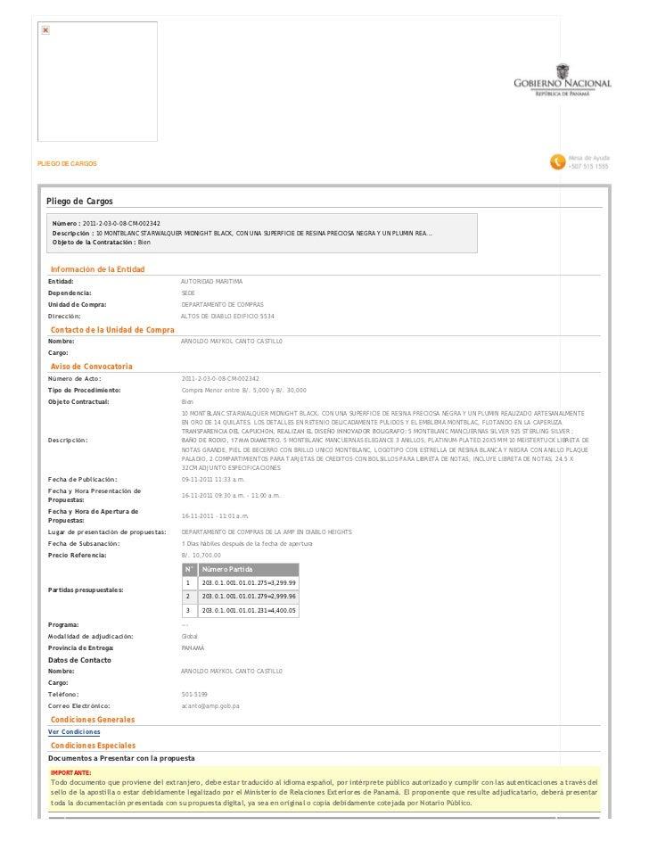 PLIEGO DE CARGOS  Pliego de Cargos    Número :2011-2-03-0-08-CM-002342    Descripción :10 MONTBLANC STARWALQUER MIDNIGHT...