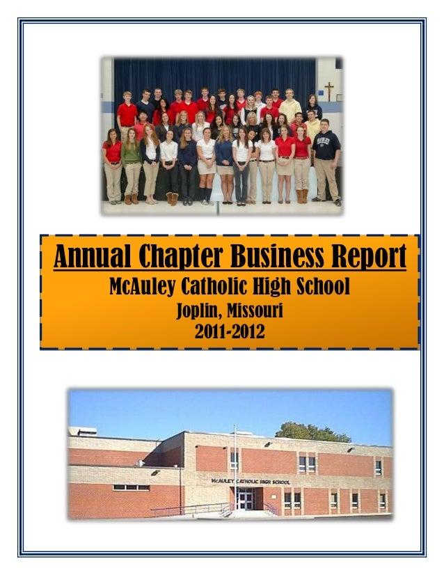 Annual Chapter Business Report McAuley Catholic High School Joplin, Missouri 2011-2012