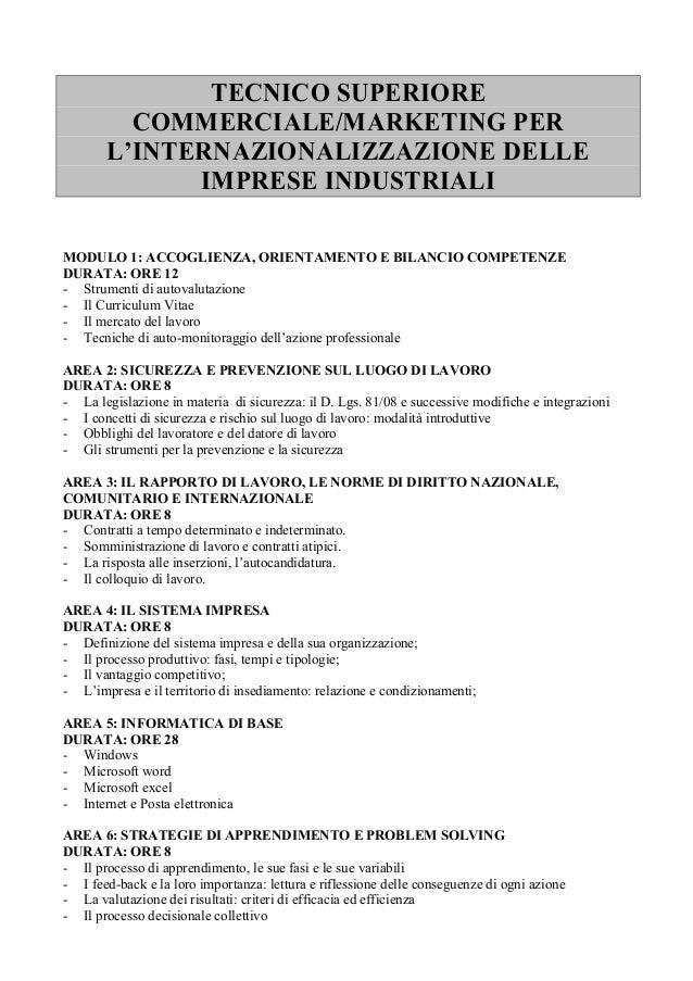 TECNICO SUPERIORE COMMERCIALE/MARKETING PER L'INTERNAZIONALIZZAZIONE DELLE IMPRESE INDUSTRIALI MODULO 1: ACCOGLIENZA, ORIE...