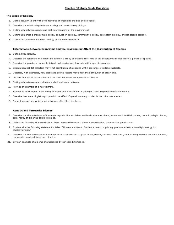 Principles Of Ecology Study Guide Answers Various Owner Manual Guide