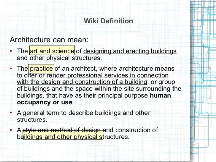 Image gallery definition architect for Anarchitecture definition