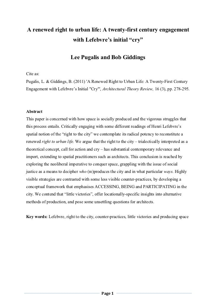 2011   a renewed right to urban life - pugalis and giddings