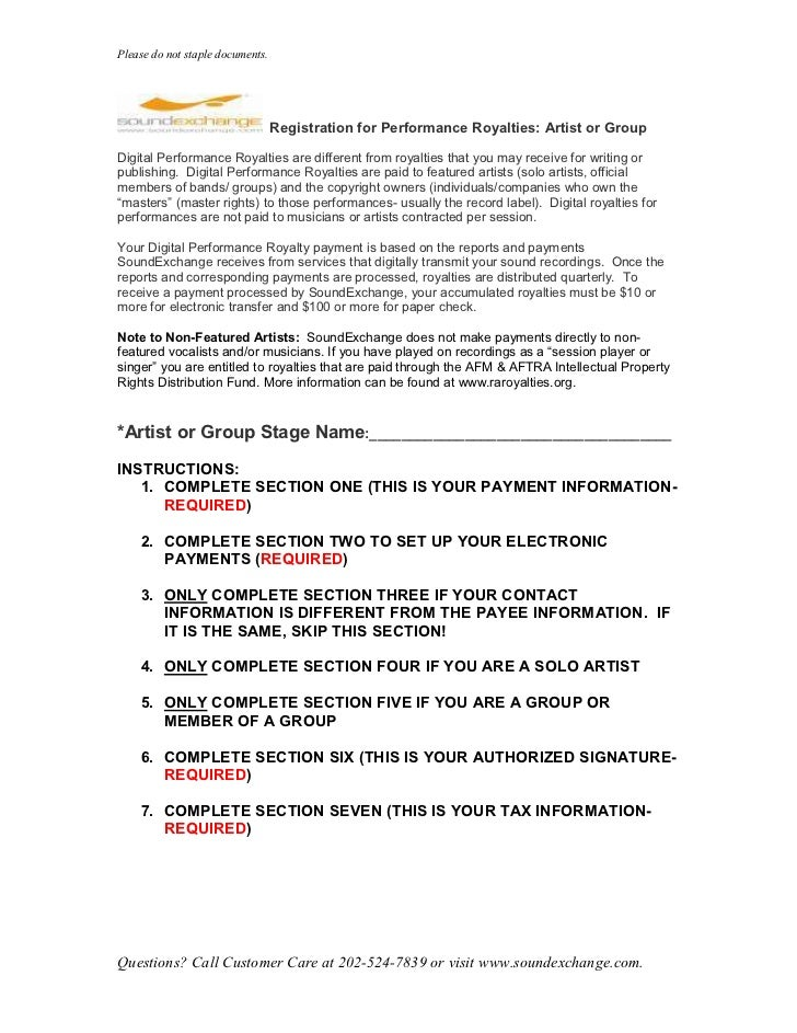 Please do not staple documents.                                  Registration for Performance Royalties: Artist or GroupDi...