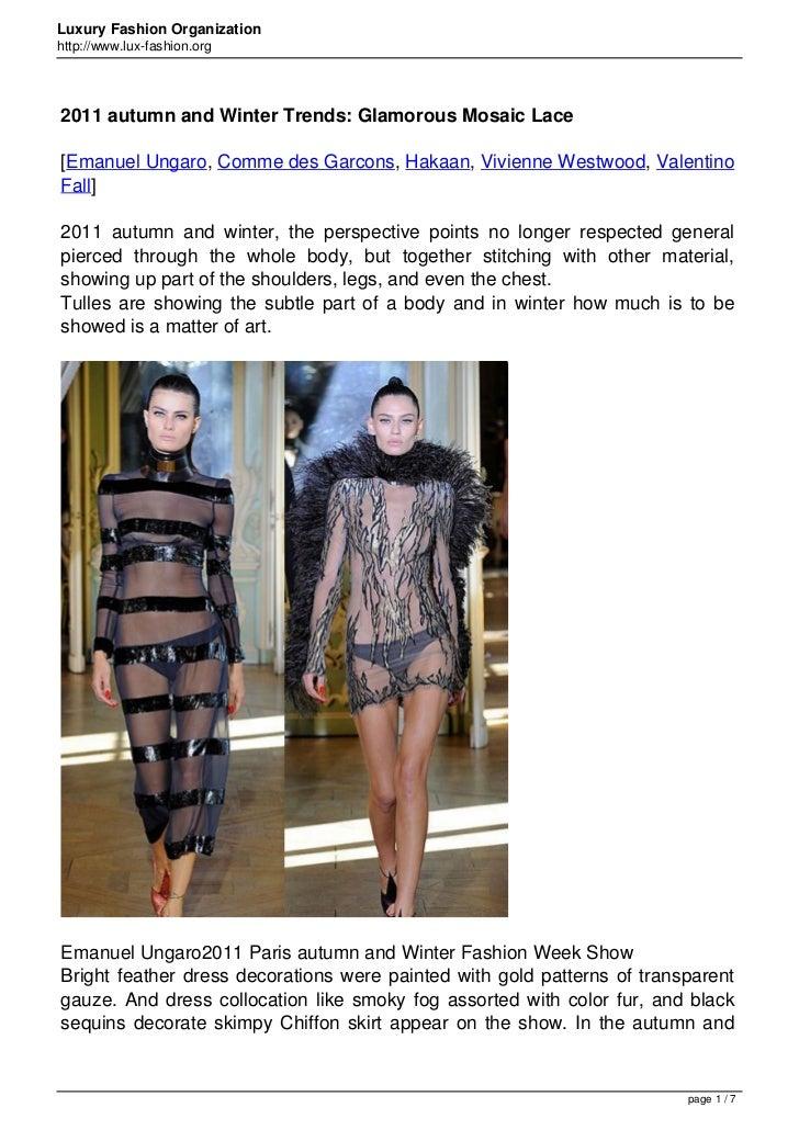 Luxury Fashion Organizationhttp://www.lux-fashion.org2011 autumn and Winter Trends: Glamorous Mosaic Lace[Emanuel Ungaro, ...