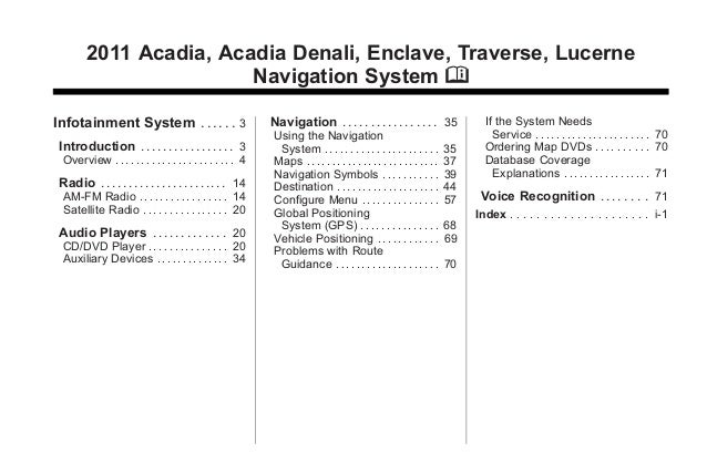 Black plate (1,1)Acadia, Acadia Denali, Enclave, Traverse, Lucerne Navigation System - 2011 2011 Acadia, Acadia Denali, En...