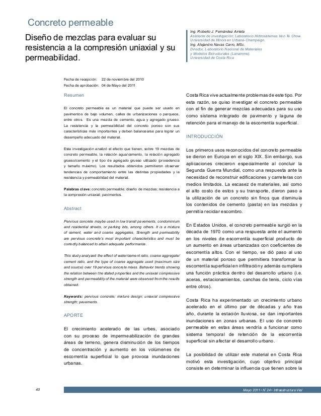 Mayo 2011 • Nº 24 • Infraestructura Vial40 Resumen El concreto permeable es un material que puede ser usado en pavimentos ...