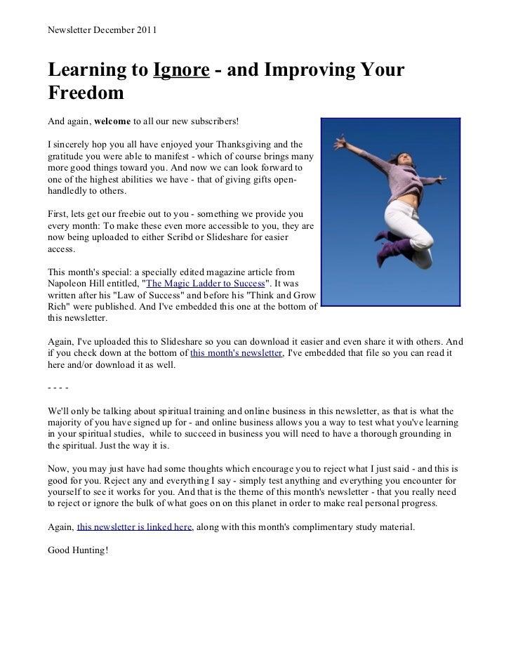 2011 Dec Newsletter - Online Business Training
