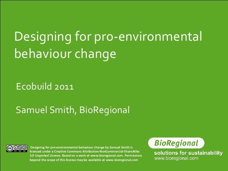 2011 Ecobuild - Designing for behaviour change