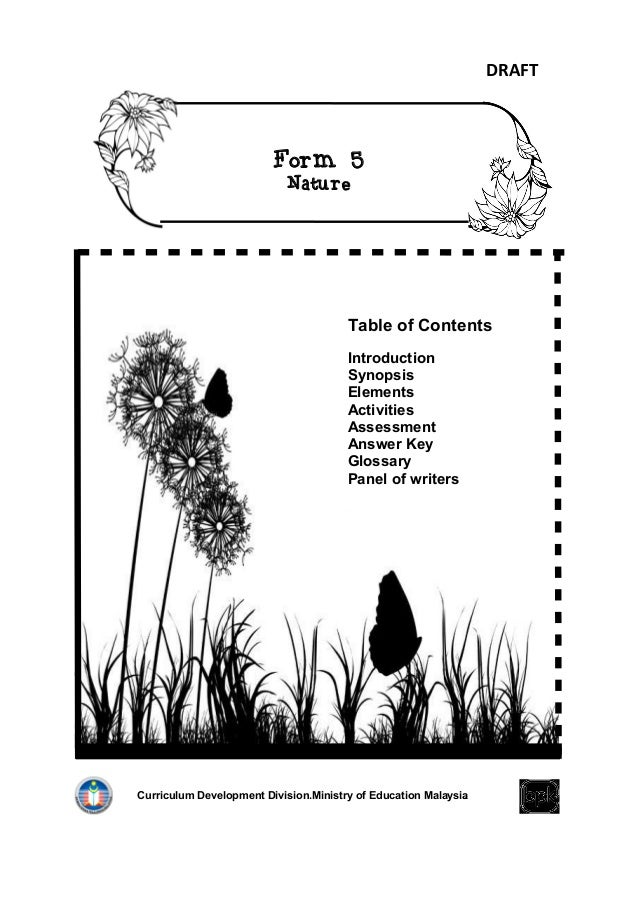 DRAFT                         Form 5                            Nature                                       Table of Cont...