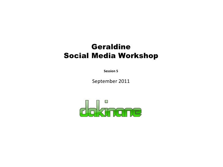 Geraldine Social Media Workshop Session 5 September 2011