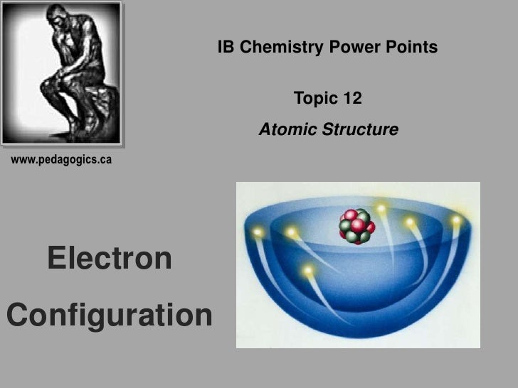 IB Chemistry Power Points<br />Topic 12<br />Atomic Structure<br />www.pedagogics.ca<br />Electron<br />Configuration<br />